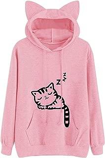 Women Girl Hoodies Cute Cat Ear Novelty Printed Pullover Sweatshirt