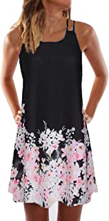KYLEON Women Boho Print Summer Casual A Line Mini Dress Sleeveless Strap Crew Neck Vintage Party Beach Short Sundress