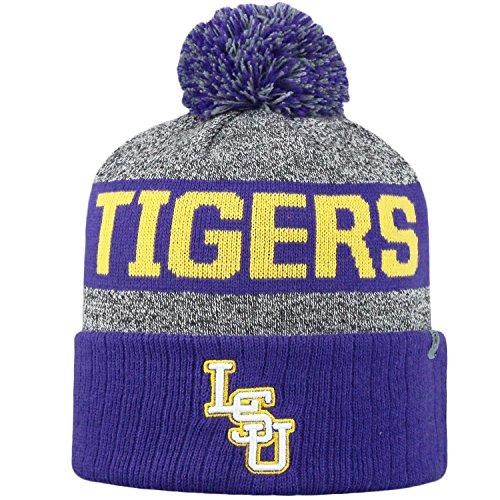 Top of the World NCAA Arctic Striped Cuffed Knit Pom Beanie Hat-LSU Tigers