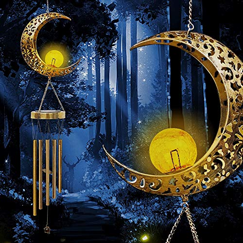SURENSHY Wind Chimes Retro Solar Wind Chimes and Moon Crackle Glass Ball Wind Chimes for Outside Suitable for Courtyards Terraces Gardens Gift for Grandma Mom Women