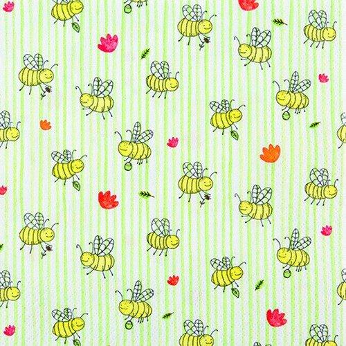 20 servetten overal kleine bijen/dieren/bos/zomer 33x33cm