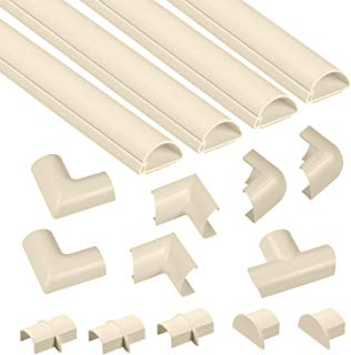D-Line Mini (Medium) Beige Cable Raceway Kit | Self-Adhesive Wire Covers | Electrical Raceway, Popular Cable Organizer for Home Theater, TV, Office and Home | 4 x 39 Inch Channels Per Pack