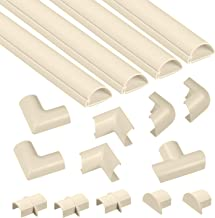 D-Line Cable Raceway Kit, Self Adhesive Wire Covers, Electrical Raceway Cable Organizer for Home Theater, TV, Office and Home - 4 x 39 Inch Channels Per Pack (Medium, Beige)