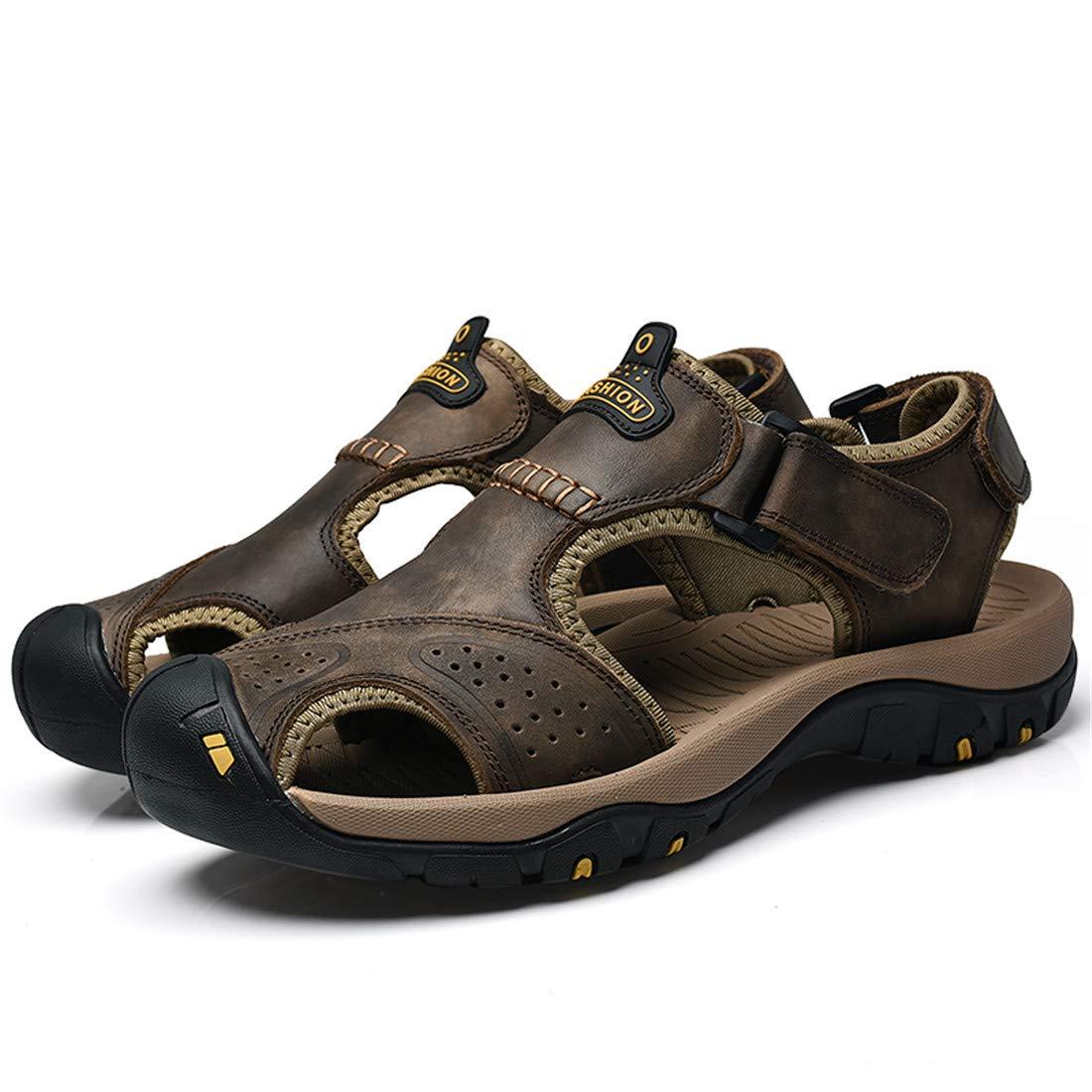 Ma Yeziメンズビーチシューズ第一層レザーサンダル滑り止めラバー+衝撃吸収MDミッドソールヨーロッパとアメリカのウィンドビーチシューズ様々なオプションの衝撃吸収EVA恐竜穴の靴PB50-7238- X