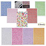 Hartop 9 Sheets Rhinestone Stickers Self-Adhesive Bling Craft Jewels Crystal Gem Stickers for Nail, Body, Makeup, Festival