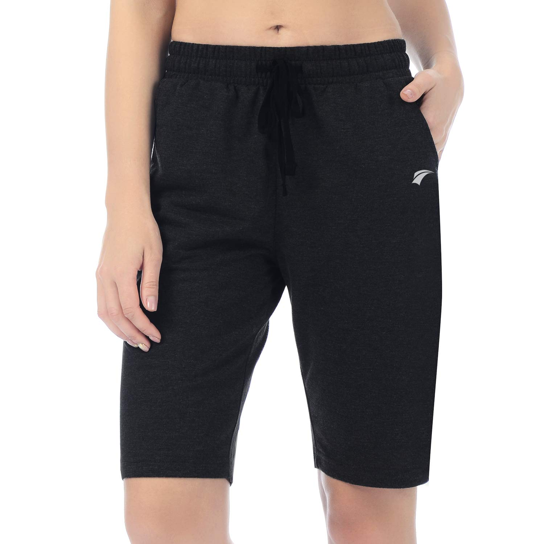 EZRUN Womens Lounge Bermuda Shorts Workout Activewear Gym Jogger Yoga Sweat Shorts with Pockets