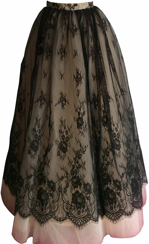 Flowerry Women Tutu Tulle Lace Skirt Wedding Skirt Prom Skirt Bridesamaid Skirt
