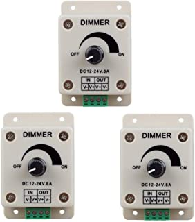 RGBZONE 3pcs DC12V - 24V 8 Amp 0%-100% PWM Dimmer Controller, Adjustable Brightness Light Switch, Compatible with Hilight, Fillite, Other Strips Switch