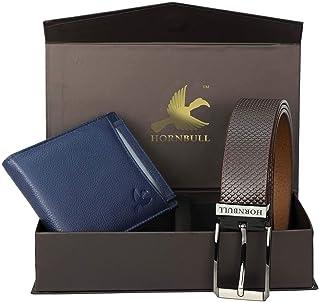 Hornbull Combo Gift Set for Men's - Navy Wallet and Brown Belt Men's Combo Gift Set 6992