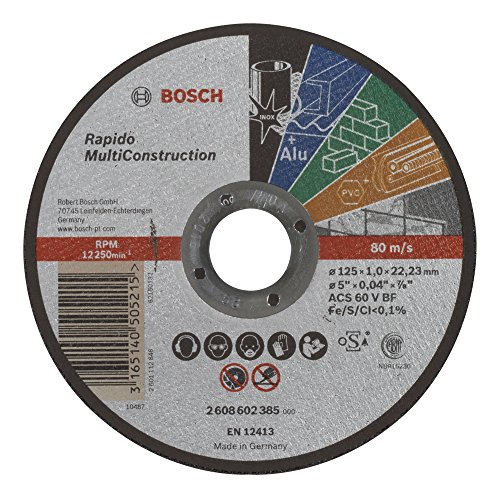 Bosch 2 608 602 385 - Disco de corte recto Rapido Multi Construction - ACS 60 V BF, 125 mm, 1,0 mm (pack de 1)