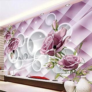 Pwmunf Hd Hand-Painted Purple Rose 3D Tv Background Wall Custom Large Mural Green Wallpaper Papel De Parede para Quarto 28...