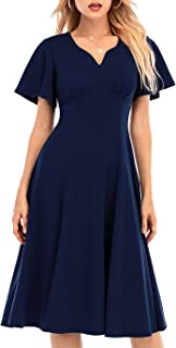 DRESSTELLS Women Casual Dresses Tea Dress Flared Sleeve Aline Swing Cocktail Party Dress