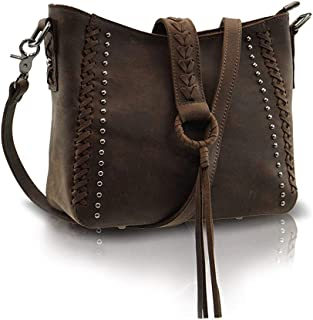 Genuine Leather Concealed Carry Crossbody Purse for Women Studded Real Cowhide Shoulder Bag With Long Strap Gun Conceal