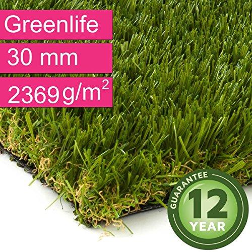 Kunstrasen Rasenteppich Greenlife für Garten - Florhöhe 30 mm - Gewicht ca. 2369 g/m² - UV-Garantie 12 Jahre (DIN 53387) - 2,00 m x 3,00 m | Rollrasen | Kunststoffrasen