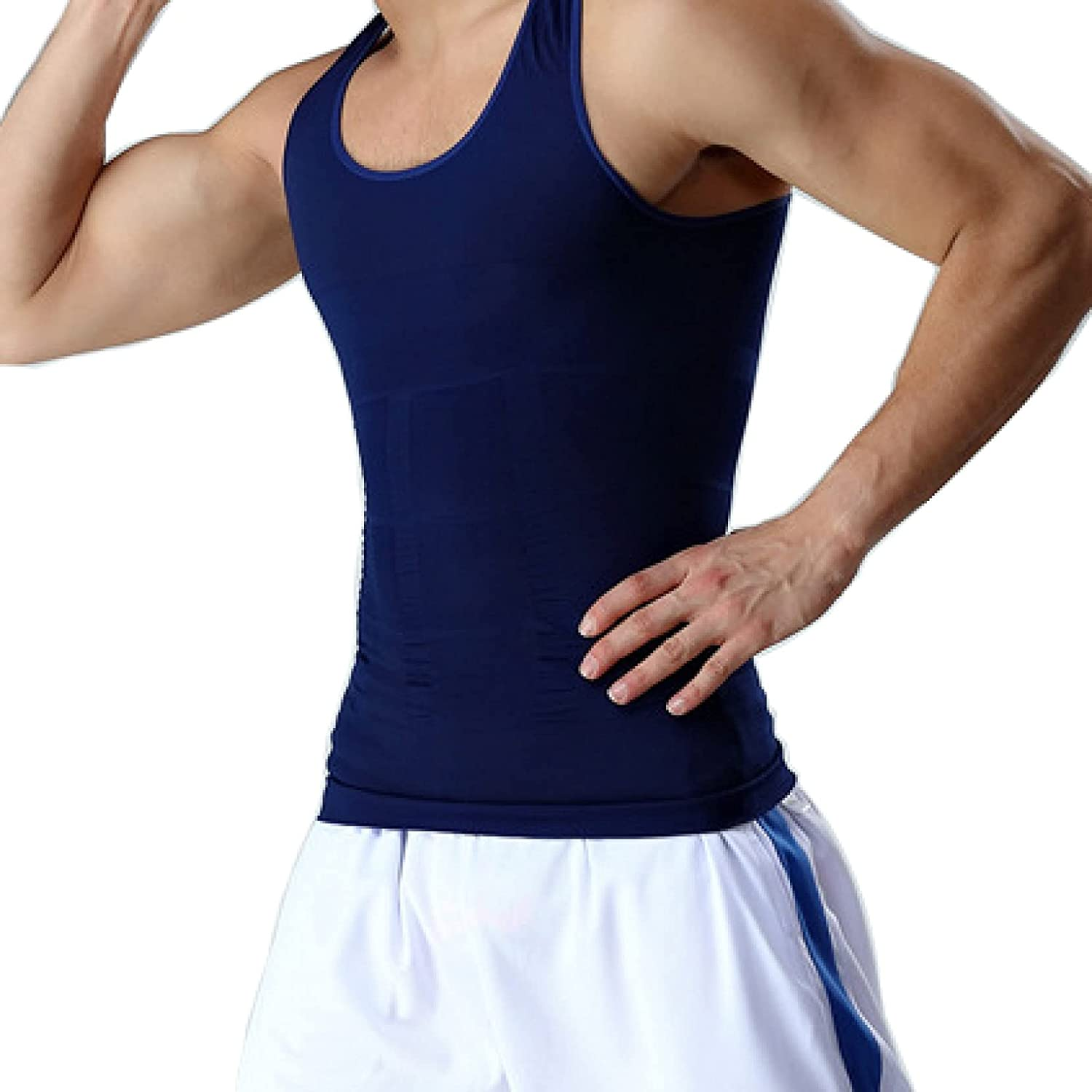 ChyJoey Men Slimming Compression Shirt Elastic Shapewear Tank Tops Tight Waist Trainer Fitness Fat Burner for Gym Exercise