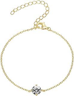 PAVOI 14K Gold Plated 925 Sterling Silver Cubic Zirconia Solitaire Diamond Bracelet   Bridesmaid Bracelets   Gold Bracelets for Women