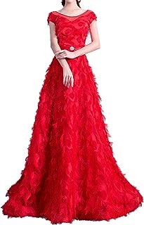 Red Flowers Illusion Appliques O-neckDress Floor Length Evening Dresses LX117