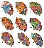 Lalhaveli Handgefertigt bestickt Baumwolle Damen Regenschirm Sonnenschirm Hochzeit Dekoration Set von 5Pcs 61x 61cm