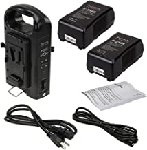 Fotodiox Dual Position Battery Charger Kit with Two 14.8V 230Wh Li-Ion V-Mount Batteries - Power Supply Stand with XLR DC Output for Fotodiox Pro, FlapJack & Factor Series LED Lights