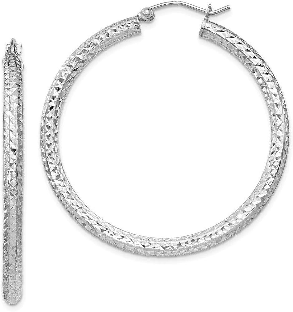 Solid 925 Sterling Silver Ultra-Cheap Deals Diamond-Cut Hoop Earrings 40mm Ranking TOP12 3x40mm