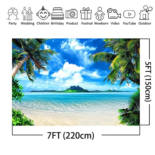 COMOPHOTO Summer Beach Backdrops for Photography 7x5ft Vinyl Blue Sea and Sky Background Palm Trees Photo Backdrop for Photo Booth
