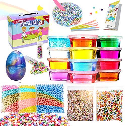 DIY Slime Kit - Juguetes para niños, Slime DIY con 12 Colores de Slime de Cristal, Slime de Huevo, Bolas de Espuma...