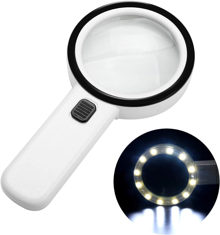 Handheld magnifying glass, doubleglazed lens, illuminated LED light and UV light