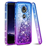 Ruky Moto G6 Play Case, Moto G6 Forge Case, Gradient Quicksand Series Soft TPU Glitter Flowing Liquid Floating Bling Diamond Women Girls Phone Case for Moto G6 Play Moto G6 Forge (Blue Purple)