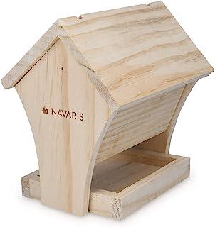 Navaris Cabane à Oiseaux en Bois - Mangeoire pour Oiseau et Décoration pour Extérieur Jardin - Kit Maison à Construire So...