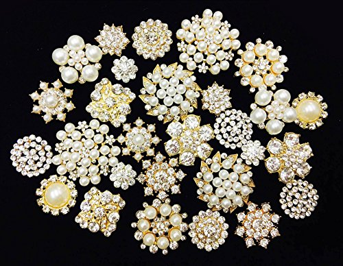 LOVEKITTY 10 Mixed Gold Flat Back Button Crystal/Pearl Rhinestone Bling Embellishment Button - Brooch Bouquet Wedding Jewelry Hair Bows Cake Decoration