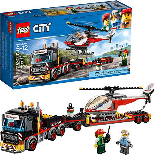 LEGO City Heavy Cargo Transport 60183 Toy Truck Building Kit with Trailer, Toy Helicopter and Construction Minifigures for Creative Play (310 Pieces) (Discontinued by Manufacturer)