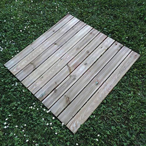 Mattonella Zigrinata 100x100 cm in Pino Impregnato, Pavimento da Esterno o Giardino, Spessore 3,8 cm Extra Resistenza