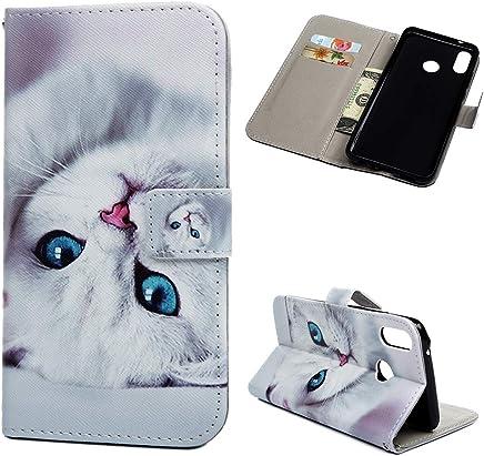 Huawei Y9 2019 H�lle Leder Tasche PU Leder H�lle Gemalt Muster Flip Brieftasche Kartenhalter Magnetschnalle St�nder Sto�fest Kratzfest Sto�stange Handyh�lle Wei�e Katze