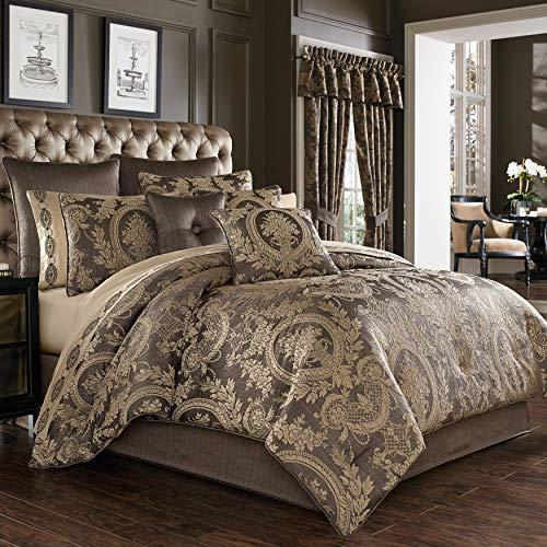 Five Queens Court Neapolitan Woven Puff Jacquard Luxury 4 Piece Comforter Set, Mink, Queen 92x96