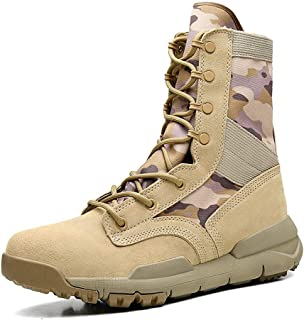 PengCheng Pang Combat Boots for Men Outdoor Climbing Boot Lace up Round Toe Suede Split Joint Stitch High Top Flat Anti-Slip Studs Durable (Color : Sand Camouflage, Size : 7 UK)