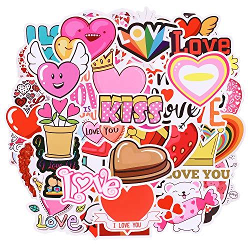 100 Pezzi Adesivi, Adesivi in Vinile, Kit Adesivi, VSCO Stickers, Waterproof, Adesivi Tumblr, Valentine's Day Stickers, Vari Adesivi a Tema San Valentino per Decorare Skateboard, Valigie, Laptop