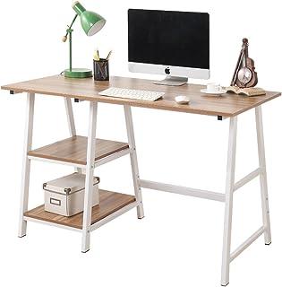 sogesfurniture Escritorio de Oficina 120 x 60 cm Mesa de Ordenador Mesa de Trabajo Escritorio para Computadora con 2 estantes, de Madera y Acero, Roble TPlus-Ok-BH