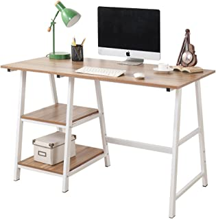 Soges Computer Desk Trestle Desk Writing Home Office Desk Hutch Workstation with Shelf, Oak 47 inches CS-Tplus-120OK