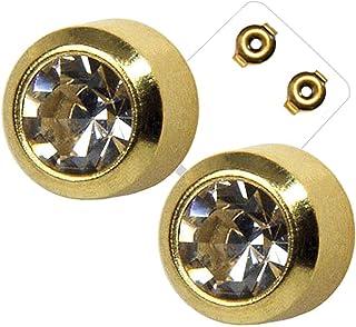 Orecchini a perno in acciaio chirurgico placcato oro, 4 mm, con pietra trasparente