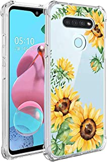 Leychan for LG K51 Case, LG Reflect Case, LG Q51 Case, Slim Flexible TPU for Girls Women Airbag Bumper Shock Absorption Rubber Soft Silicone Case Cover Fit for LG K51 (Sunflowers/Yellow)