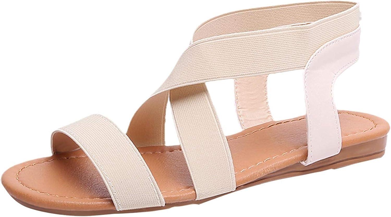 FAMOORE Women's Cloth Strap Open Toe Bag Heel Ankle Strap Flat Slipper Sandals