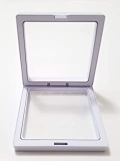 JM Set of 10 Transparent 3D Floating Frame Display Holder/Box/Frames for Challenge Coins, AA Medallions, Antique, Jewelry, Gift, White, 3.5 x 3.5 x 0.75 Inches