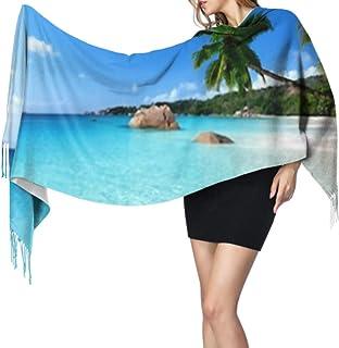 ZQYON Bufanda de Invierno de Cachemira clásica súper Suave, ANSE Lazio Beach Praslin Island Seychelles Fashion Long Tassel...