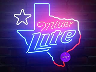 Urby™ Miller Lite Texas Neon Sign Neon Light Beer Bar Pub Recreation Room Windows Wall Sign Display Signboards 18''x14'' A30-01