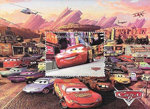 Francobolli da Collezione - Disney Pixar Cars con Saetta McQueen MNH Stamp singolo foglietto/Benin / 2011