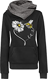 Womens Casual Bee Printed Cowl Neck Hoodies Long Sleeve...