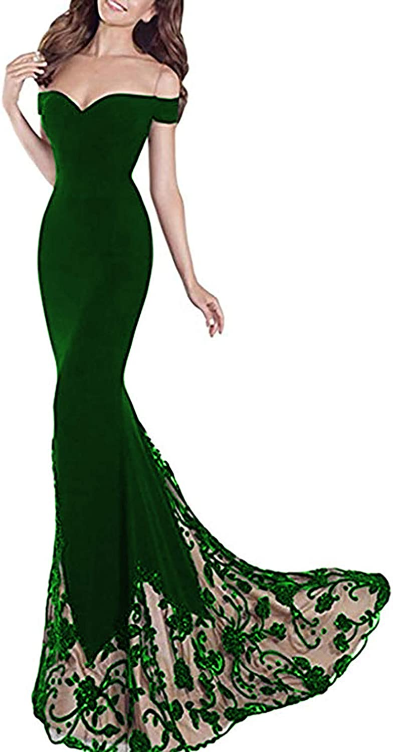 EverBeauty Womens Long Off Shoulder Mermaid Prom Dress Evening Party Gown