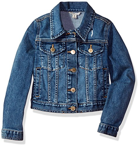 Calvin Klein Girls' Big Denim Jacket, Authentic, X-Large (16)