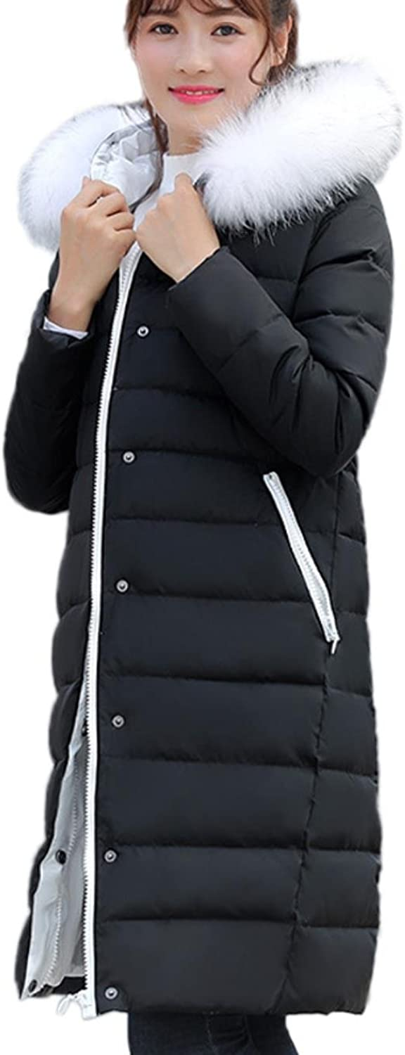 HNVIEU Womens Hooded College Style Long Coat Fluffy Straight Big Fur Collar Parkas