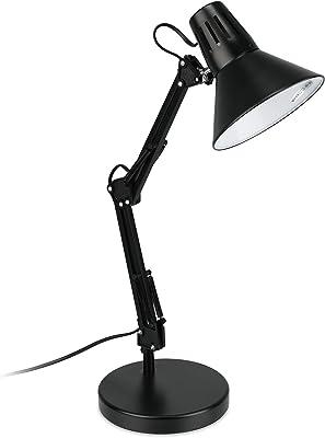 Relaxdays Lampe de bureau, articulée, abat-jour inclinable, douille E27,éclairage de table chambre rétro, noir